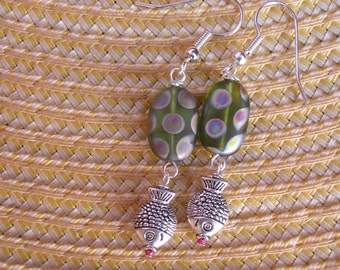 five dollar earrings, five dollar gifts, fish earrings, Montana, metal fish, glass bead, green earrings, fish scales