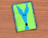 Greyhound galgo felt gift bag phone bag silly old greyhound lime green turquoise OOAK
