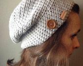 The Hamilton Slouchy Hat Men Women Crochet Handmade Button Cold Comfort