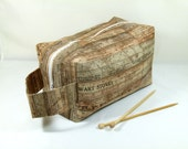 Knitting Project Bag - Large Zipper Box Bag in Vintage Ruler Fabric with Gold Chevron Cotton Lining