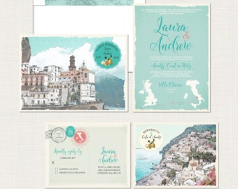 Destination wedding invitation Amalfi Coast Positano Atrani Sorrento Italy Wedding Invitation Suite - European wedding - Deposit Payment