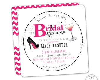 Hot Pink and Black Drink Coaster Bridal Shower Invitations, Night out with Friends, Celebrate with Cocktails