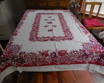 "Vintage Tablecloth Cotton Sheeting Flowers in Red Burgundy Maroon  50"" x 62"" EXC"