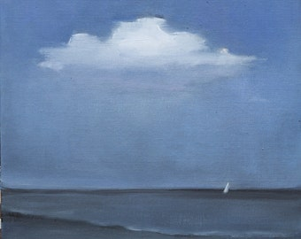 Original Oil Painting - Boat - Sailboat - Oil on Canvas - 10 x 10 - Seascape - Original Painting - Art - Cloud - Ocean - Landscape - Beach
