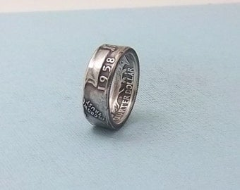 Silver coin ring washington quarter year 1958 size 7   90% fine silver jewelry, Unique handmade gift