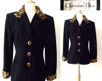 80's CHRISTIAN DIOR Wool & Leopard Jacket ~ Size 8