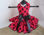 Dog Dress  XS Red with Black Polkadots By Nina's Couture Closet