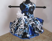 Dog Dress  XS Navy with Black Flowers and Trim  By Nina's Couture Closet