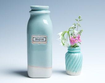 "Ceramic Porcelain Vase / Milk Bottle / Small / Icy Blue ""Inspire"""