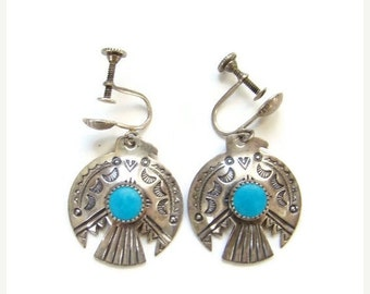 ON SALE Southwestern Sterling Silver Turquoise Thunderbird Screw Back Earrings Navajo Style Native American Indian Jewelry