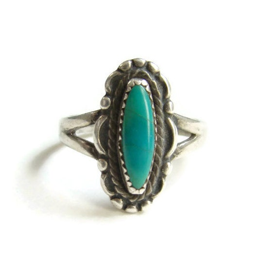Bell Trading Post Navajo Green Turquoise Ring Size 8.5