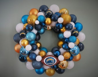 SAN DIEGO CHARGERS Ornament Wreath Team Football Wreath
