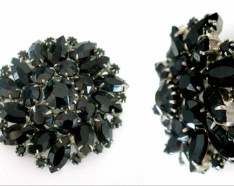 Large Black Crystal Brooch Vintage Mid Century Statement Pin Jewelry