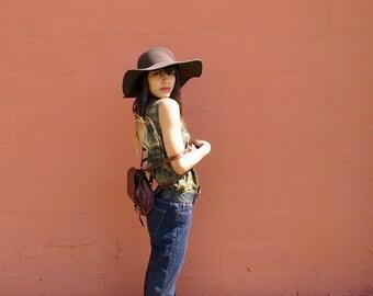 Tie Dye Tank Top - 90s Boho Festival Grunge Mustard Olive Grey Womens Size XS/S