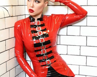 Fetish Buckle Front Latex Jacket