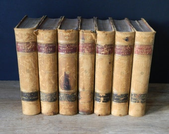 Beacon Lights of History by John Lord. Set of Antique Leather Books. Circa 1888. Home Decor. Instant Library.