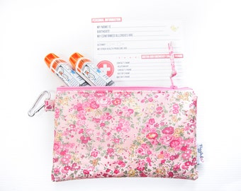 EpiPen Case with a Medical ID Card and a Carabiner - Liberty of London Oilcloth (Tatum - Pink)
