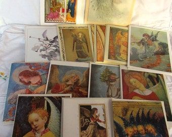 SALE***Vintage Angel Art Christmas Cards Set of 15 Vintage Christmas Cards West Germany Italy England USA Art Cards