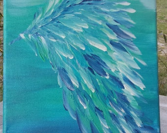 Hand painted angel wing canvas, wing original painting, textured feathers wing painting, inspirational wing
