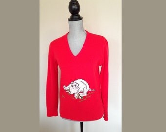 Arkansas Razorback Vintage Sweater Back to School Football Sweater 70s Sweater Red Sweater Arkansas Sweater Long Sleeve Sweater Medium
