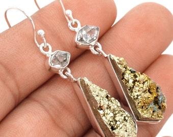 Quartz Hermimer Diamond and Chalcopyrite Earring Pair