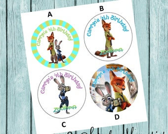 Zootopia Favor Tags/Stickers