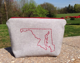 Maryland Embroidered Zipper Pouch, MD Bag