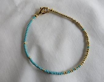 "7"" Aqua and Gold Bracelet"
