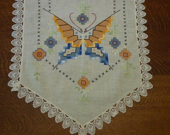 Vintage Runner,Dresser Scarf, Embroidered Butterfly, Deco Design, Lace Edge 16 x 46""