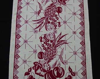 "Vintage Tea Towel, Burgundy Fruit, 17 x 30"", Nostalgic and Perfect"