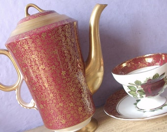 Vintage English Coffee pot, Adderley red teapot, English bone china teapot, English teapot, Red and Gold teapot, Red china coffee pot