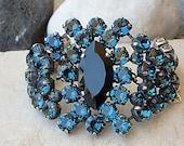 Swarovski bracelet. Blue navy crystal bracelet, Bridal bracelet, Bridesmaids gift, Gold silver jewelry, Chunky bracelet. Thick blue bracelet