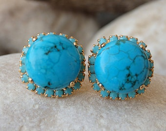 Turquoise Gold Stud earrings , Genuine Turquoise Jewelry, December birthstone. 24k Gold post Gemstones Earrings.Turquoise swarovski earrings