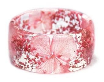 Pink Flower Bracelet -Flower Jewelry- Real Flower Bangle- Real Flower Resin Jewelry - Jewelry made with Flowers- Pink Flower Bangle
