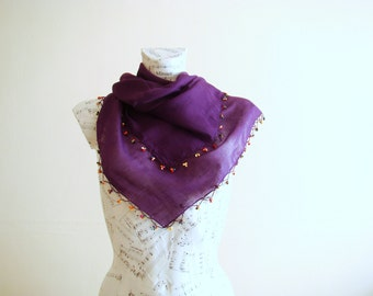 Summer scarf square cotton scarf cotton bandana head scarf purple scarf pareo wrap beach pareo cotton pareo wooden bead scarf jewelry