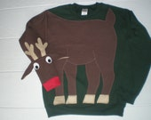 Rudolph the Red Nosed Reindeer sweatshirt, Deer sweatshirt, deer shirt, Christmas sweater, Christmas sweatshirt, adult unisex sizes