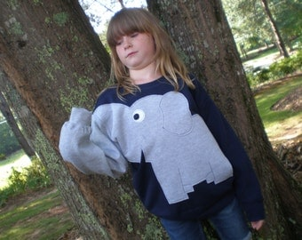 Navy Blue Childrens Elephant Trunk sleeve sweatshirt,  sweater, elephant jumper, KIDS medium or large, Special Deal