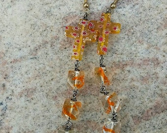 Orange Crosses Dangle Earrings by Afterwork