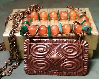 Carnelian, Malachite, and Brass - Vintage Style Necklace by AfterWork