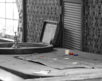 Gambling in the Old West Black & White Photograph Wall Art Wall Hanging Red, White and Blue Poker Chips Roulette Wheel Gambler Las Vegas