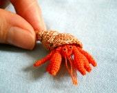 Miniature Hermit Crab - Tiny Crochet Amigurumi Stuffed Animal - Made To Order