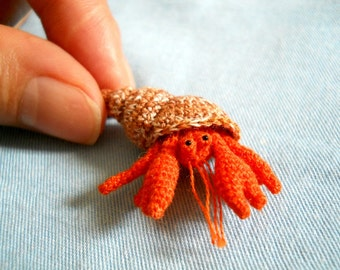 Miniature Hermit Crab - Tiny Crochet Amigurumi Stuffed Animal - Made To Order