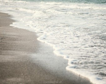 Beach Decor, Landscape Photography, Pale Blue Ocean Art, Nautical, Aqua, Grey, Pastel, Mint, Waves Print or Canvas Wrap, Bathroom Decor.