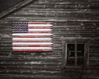 Farmhouse Decor | Americana | American Flag Print Print or Canvas | Rustic Home Decor | Patriotic Print | Farmhouse Style | Gift for Her
