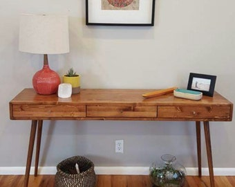 Mid Century Desk with 3 Drawers