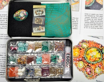 """One-of-a-Kind """"Sea Garden"""" Free-Form Bead Embroidery Brooch Kit #11 Tropical Tones"""
