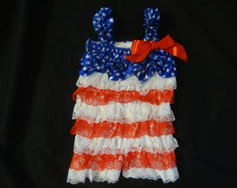 4th of July lace ruffle romper size 2-3t