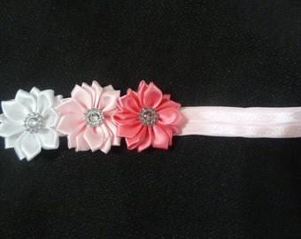 Pink satin triple flower headband