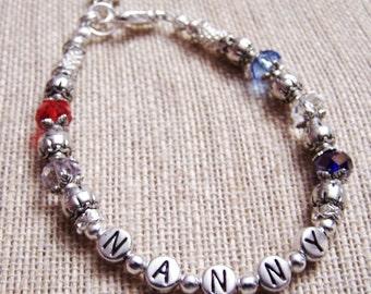 Mothers bracelet, Custom Handmade silver Grandmothers bracelet, name bracelet