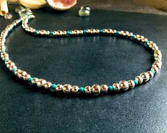 On Sale Now! Navajo Pearls Necklace Bright Silver Finish w Turquoise #121